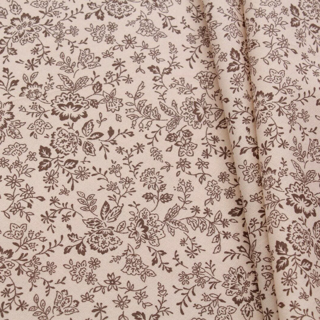 "White Floral Leaves/Vines Print Pastels, 100% Premium Quilting Cotton Fabric, 44"" Wide (111cm), 140GSM"
