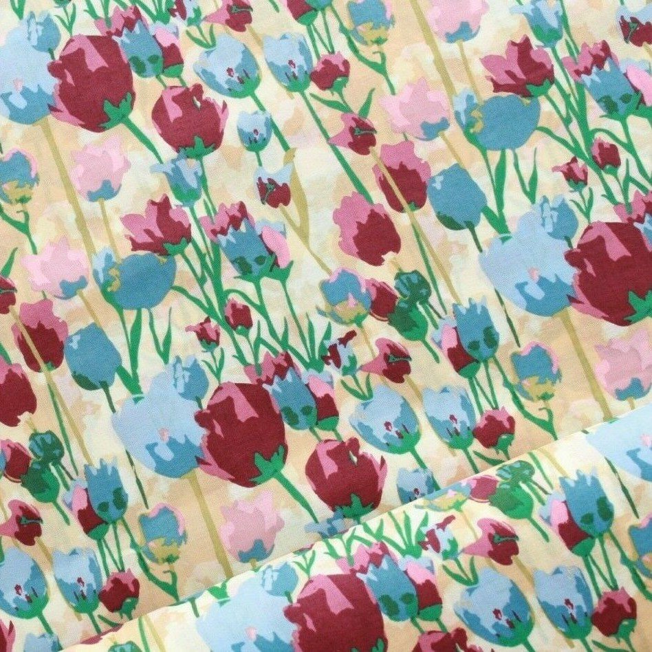 William Morris Inspired Floral Tulips Cotton Lawn Yellow