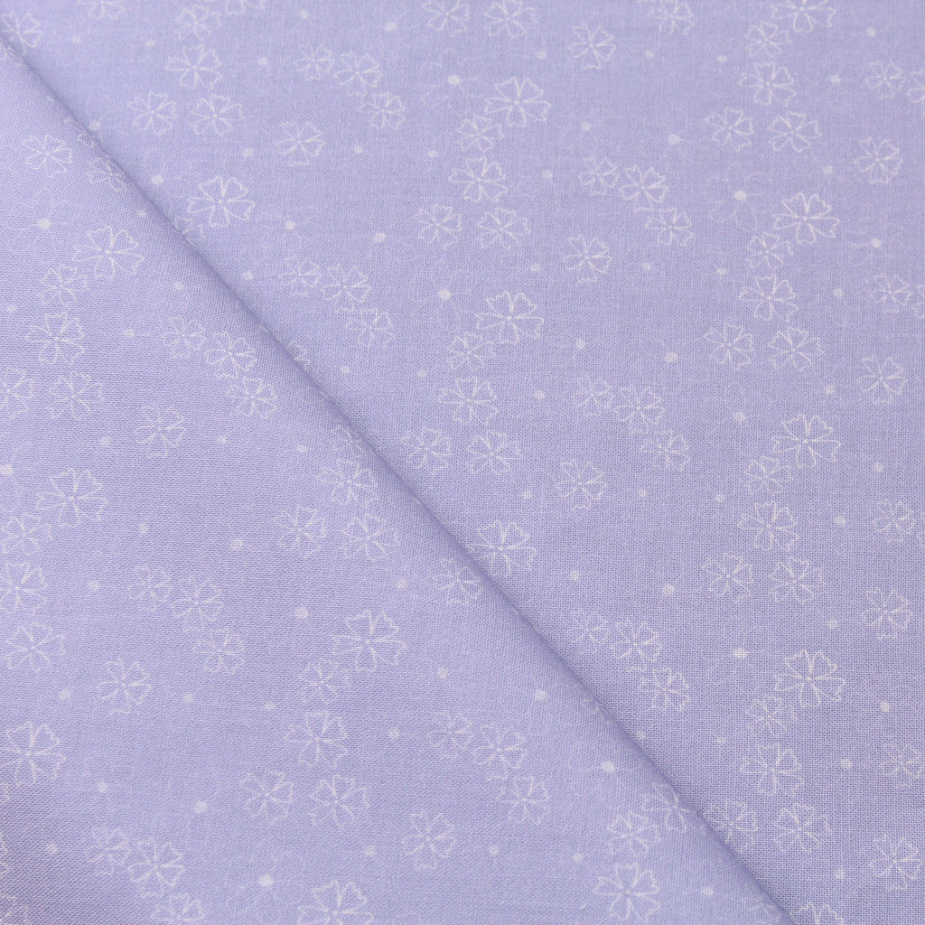 TFG Purple Quilting Cotton, White Floral, Springtime Floral Collection FF403.1