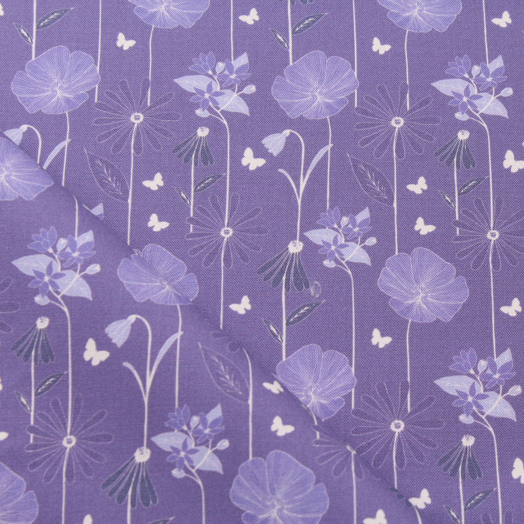 TFG Purple Quilting Cotton, Large Floral, Springtime Floral Collection FF399.1