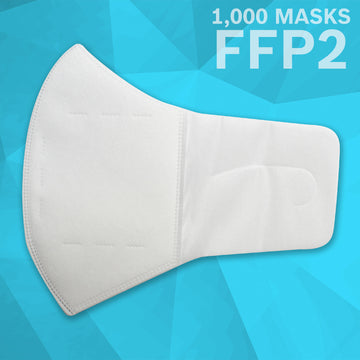 Comfort Loop 3 Layer (FFP2) Non Woven Disposable Respirator Mask (1,000 Masks) | White