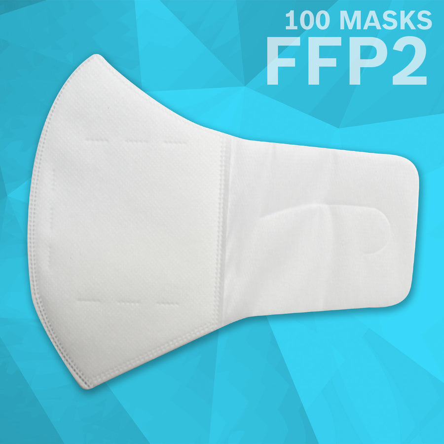 Comfort Loop 3 Layer (FFP2) Non Woven Disposable Respirator Mask (100 Masks) | White