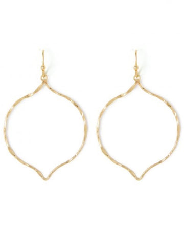 "SI189175 Delicate Hammered Moroccan Drop 1-1/2"" Gold Earrings"