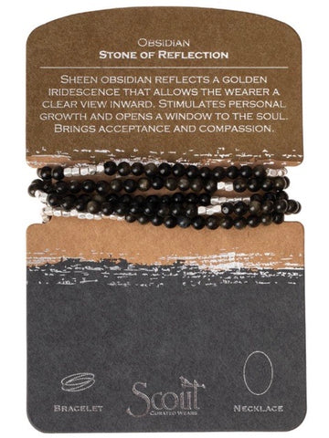 Obsidian - Stone of Reflection Wrap Bracelet / Necklace