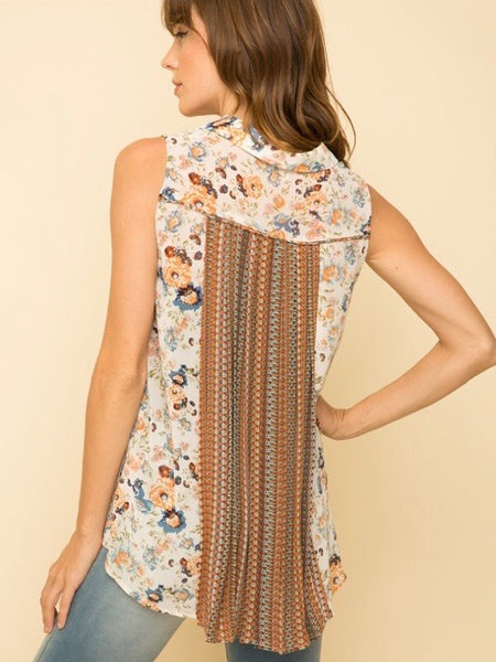 MY131678 Orange/White Print Mix Chiffon Sleeveless Top With Back Pleat