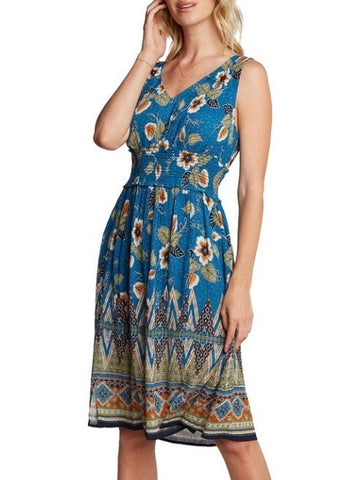 BL131629 Blue Floral Print Midi-Dress With Ribbed Elastic Waist