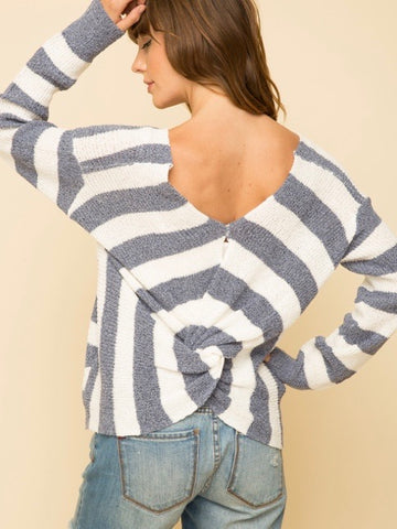 MY131394 Slate Blue Knotted Back Stripe Pullover Sweater