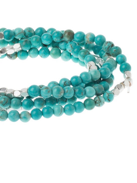 Turquoise/silver - Stone of the Sky Wrap Bracelet / Necklace