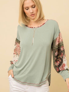 MY131430 Sage Print Mix Modal Top