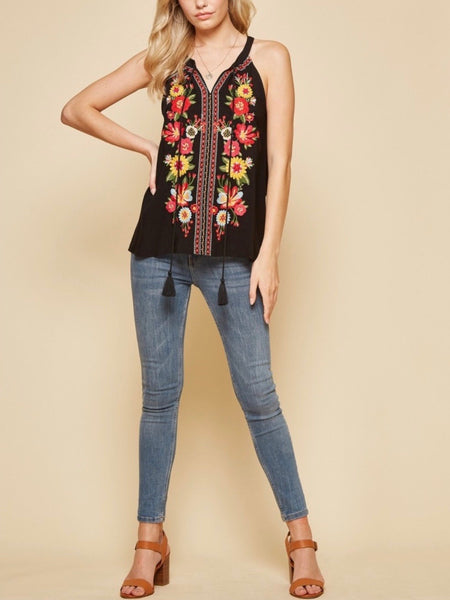 AN131530 Black Embroidered Top