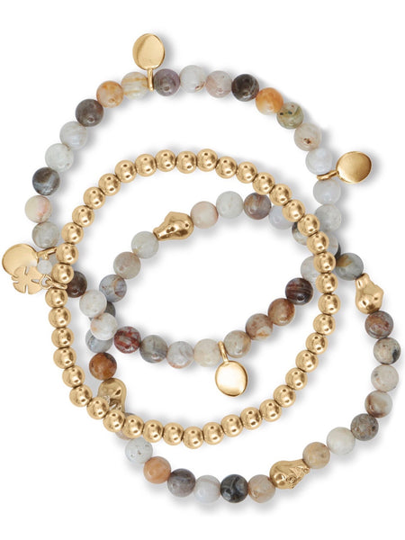 JWEL4062 710 White Agate Multi Beaded Bracelet Set