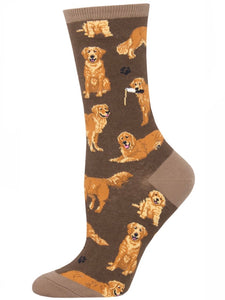 Women's Golden Retrievers Socks Brown