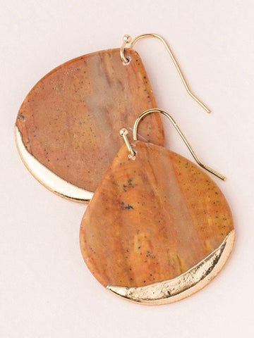 Stone Dipped Teardrop Earrings - Petrified Wood/Gold