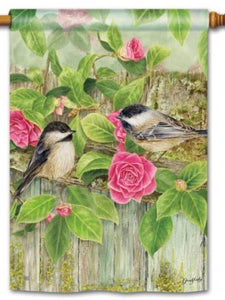 Garden Chickadees Standard Flag (Flag Pole Sold Separately)