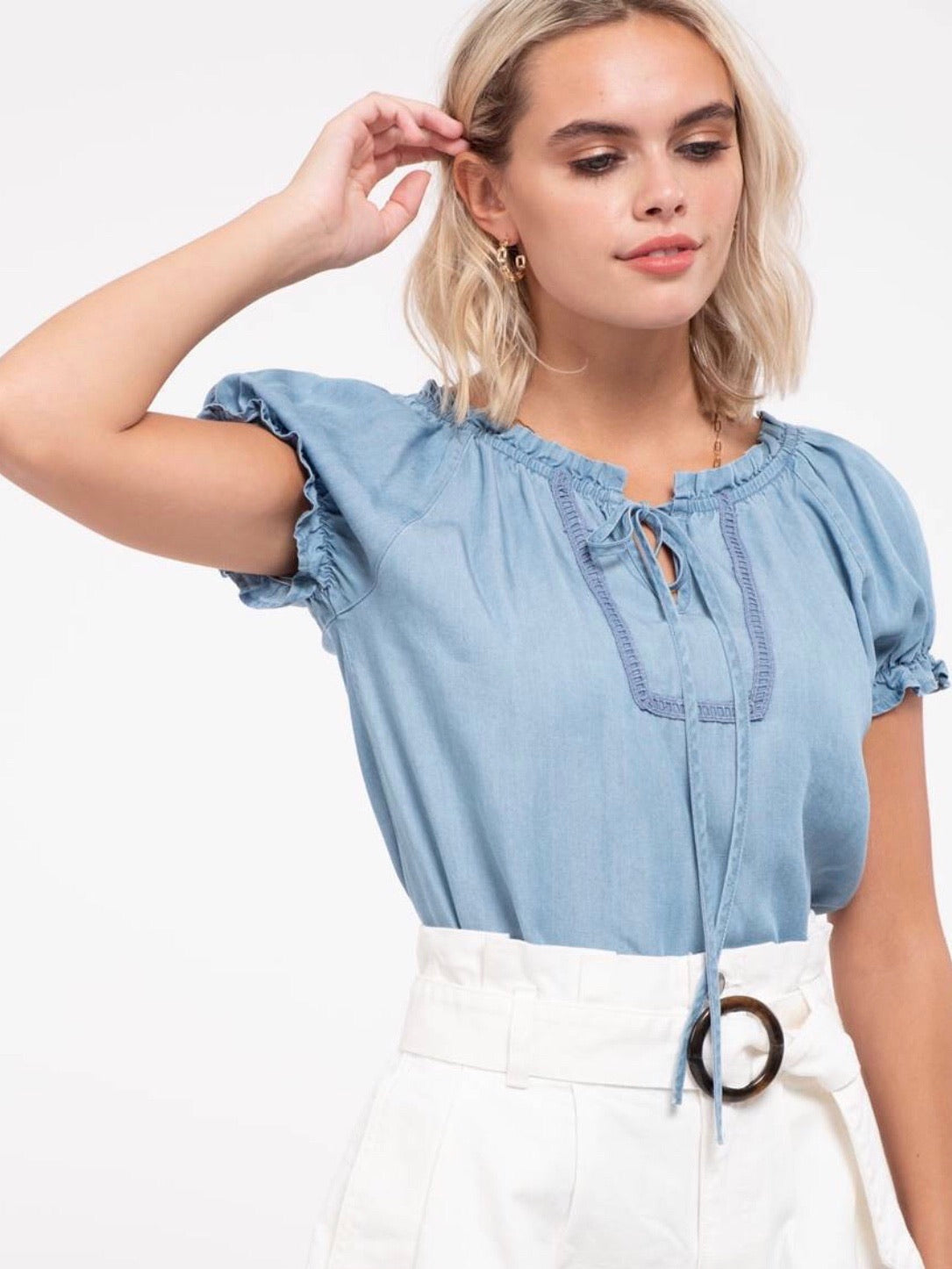 Eleanor Peasant Top - Chambray