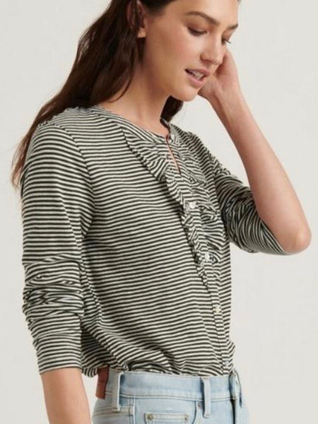 LB7W65375 0OL Olive Striped Ruffle Henley Top