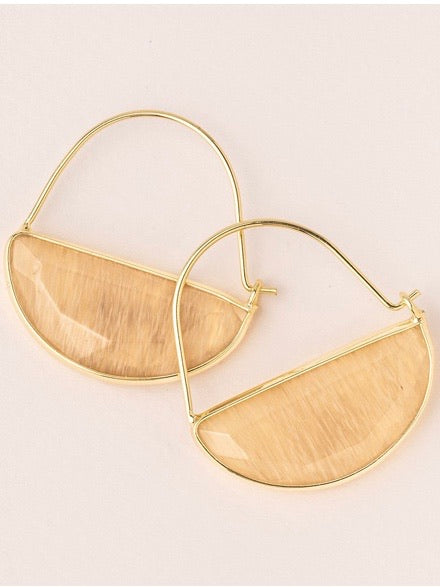 Stone Prism Hoop Earrings - Citrine/Gold