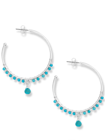 JWEL4233 040 TURQUOISE HOOP EARRINGS