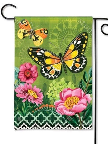 Butterflies with Pink Flowers Garden Flag (Flag Stand Sold Separately)
