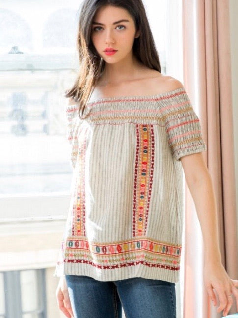 TM131339 Off-Shoulder Embroidered Top