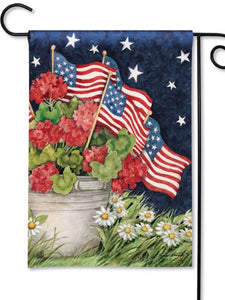 31851 Geraniums with Flags Garden Flag (Flag Stand Sold Separately)