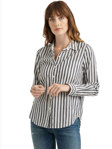 LB7W45546 NAM Black/White Stripe Button Down Shirt