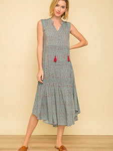 MY131682 Mint/Berry Pintuck Shoulder Tassel Tie Printed Smocked Dress