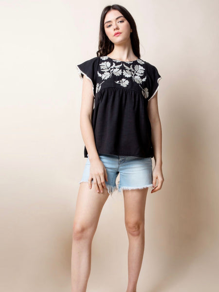 TM131340 Black Embroidered Top