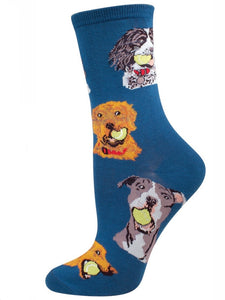 Women's Ball Dog Socks Antique Blue
