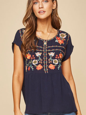 AN131525 Navy Embroidered Top