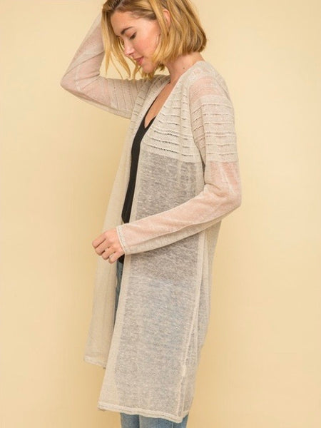 MY131391 Taupe Sweater Cardigan