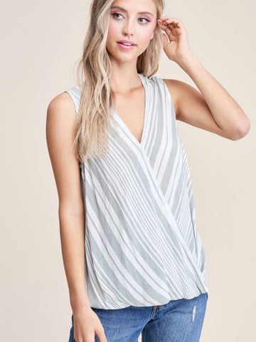 ST131608 Sage/Ivory Sleeveless High/Low Top