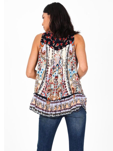 BL131627 Sleeveless Top with Crochet Detail