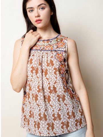 TM131338 Copper Embroidered Top
