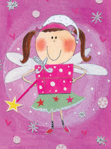 Fairy Girl with Gift, Child Birthday Girl Card