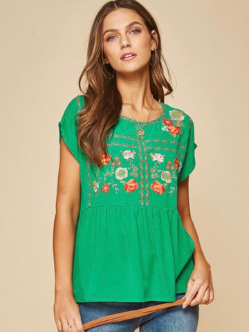 AN131524 Emerald Embroidered Top