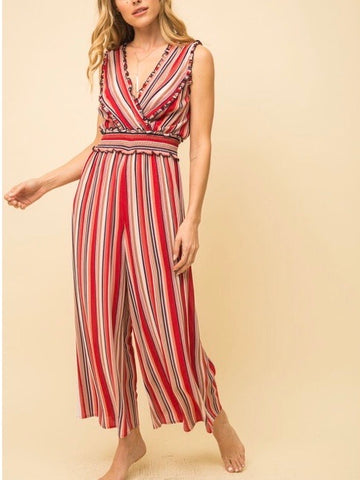 MY131671 Wine/Blush Wide-leg Jumpsuit