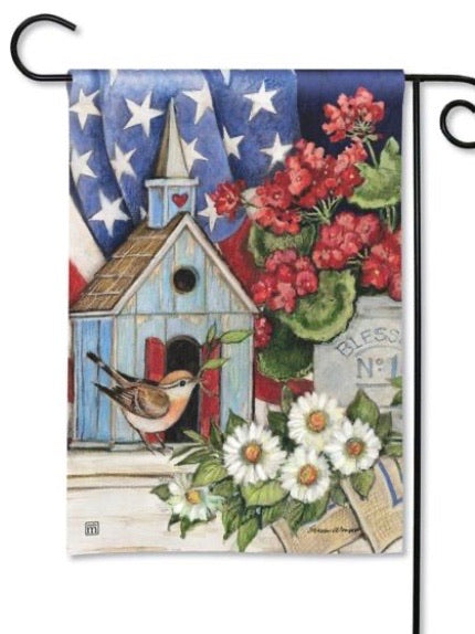 31853 Patriotic Birdhouse Garden Flag (Flag Stand Sold Separately)