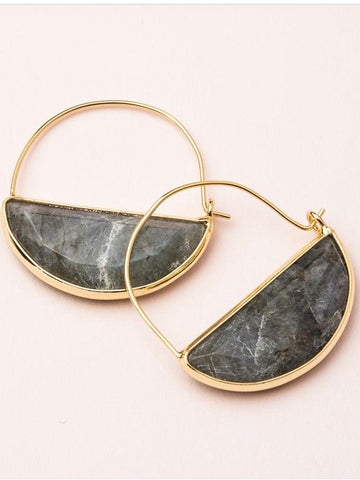 Stone Prism Hoop Earrings - Labradorite/Gold