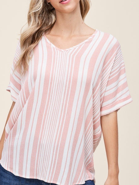 ST131603 Peach/Ivory V-Neck Loose Fit Drop Shoulder Top