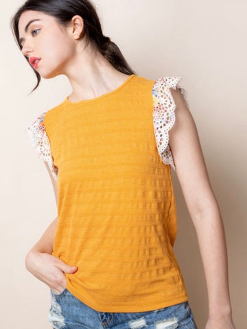 TM131590 Mustard Flutter Eyelet Sleeve Knit Top