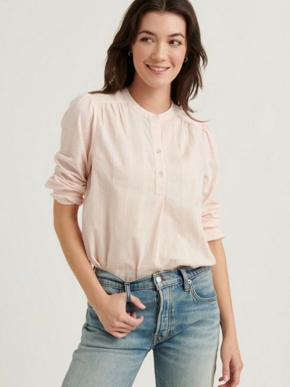 LB7W65214 WP6 Washed Pink Mix Media Pullover Top