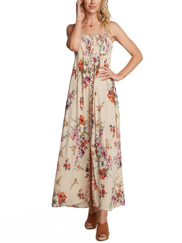 BL131624 Cream Smocked Floral Maxi Dress