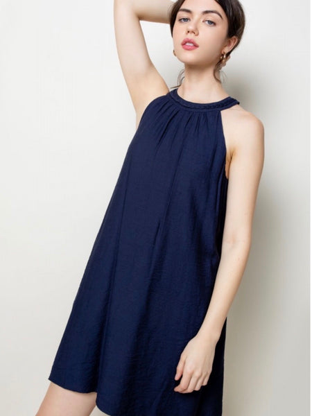 TM131667 Navy Halter Dress