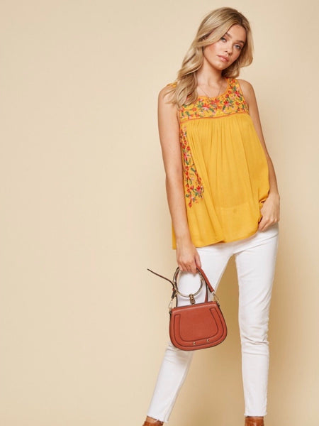 Alexa Embroidered Tunic Top - Marigold