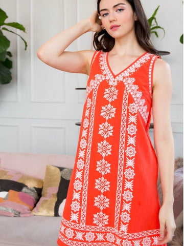 TM131591 Orange Embroidered V-neck Dress