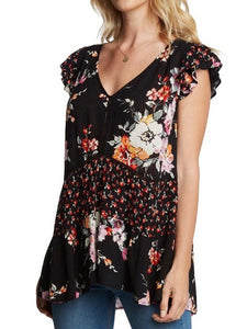 BL131623 Black Floral V-Neck Top with Short Flutter Sleeves