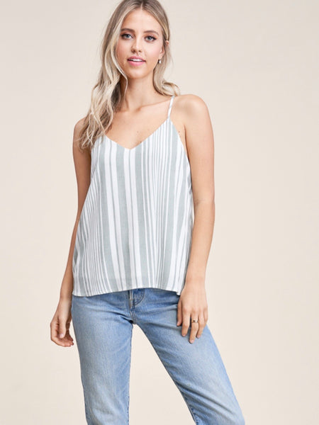 ST131597 Sage/Ivory V-Neck Racer Zipper Back Top