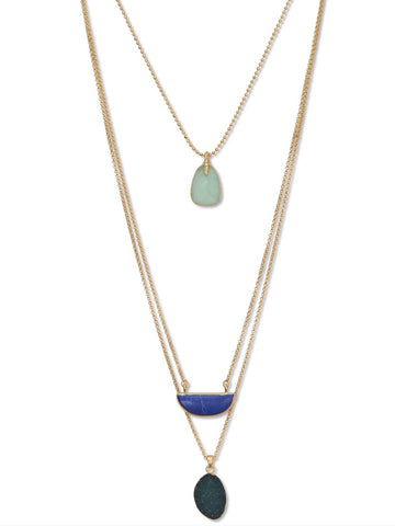 JWEL3351 710 TRI COLOR NECKLACE