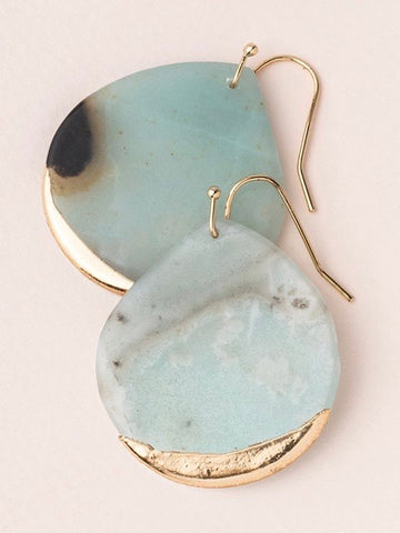 Stone Dipped Teardrop Earrings - Amazonite/Gold